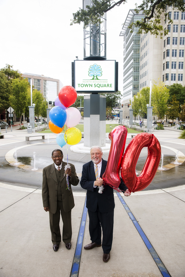 Mayor Kip Holden and Downtown Development District Executive Director Davis Rhorer in North Boulevard Town Square. Photo by Collin Richie