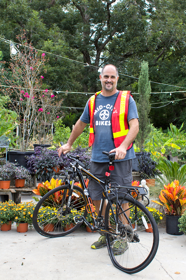 Gordon Mese at his Garden District Nursery in Mid City. Mese was hit while biking in the designated bike lane on Capital Heights Avenue in August. Photo by Chelsea Caldwell