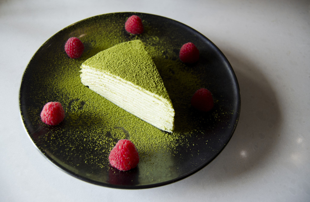The signature dessert, a 12-layer green tea crepe cake