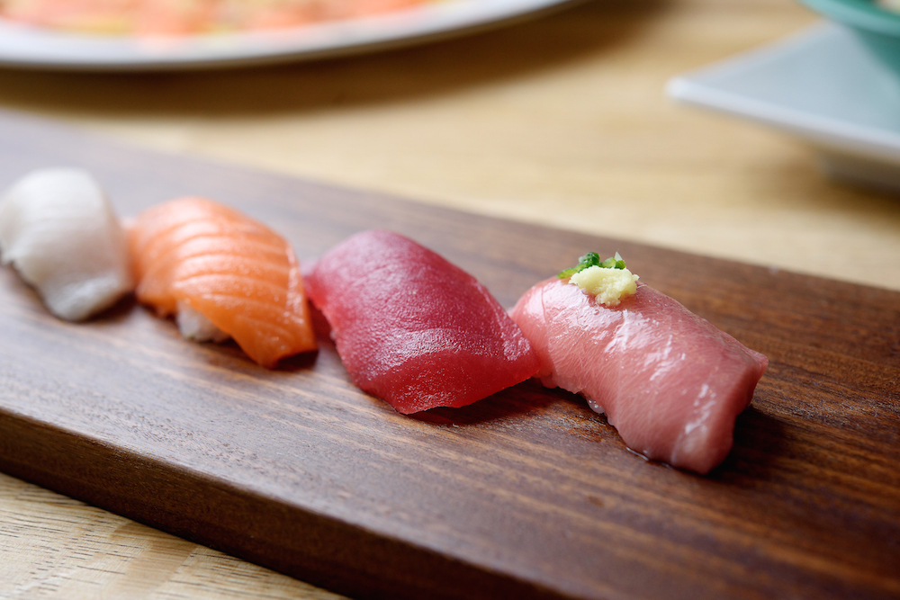 An assortment of sushi at Sushi Yama.