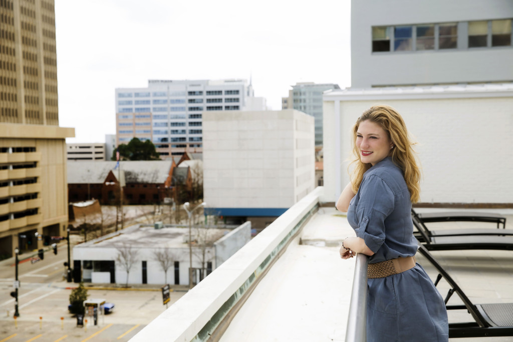 Brooke Stikeleather admires the view from 440 on Third's outdoor green space.