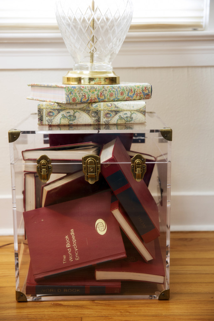 Andrus filled a lucite chest with her collection of vintage encyclopedias.