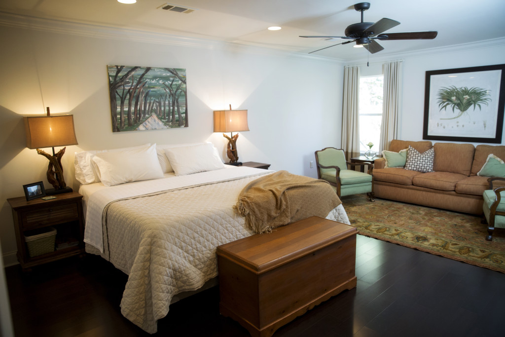 The Diehls' large master bedroom includes an ample seating area that's perfect for reading and relaxing.