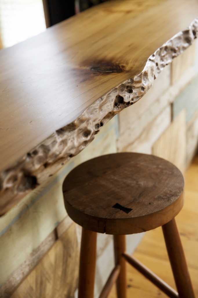 Moran made a breakfast bar using Louisiana sinker cypress. The wood's edge shows the unique effects of the bayou's rising and falling water levels.