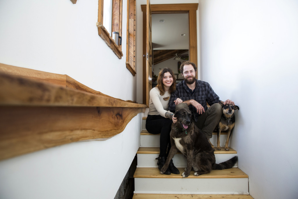 Andrew Moran with his girlfriend, Molly Taylor, and their dogs, June and Blu