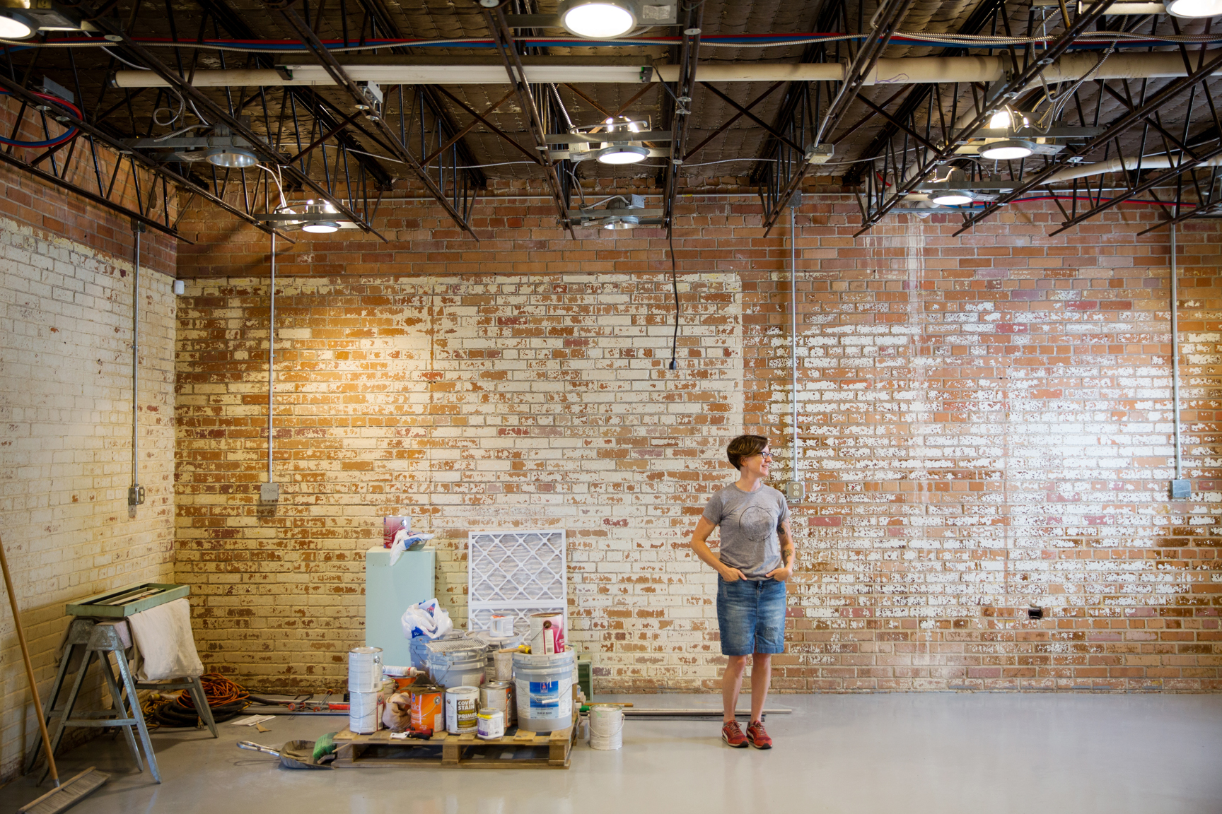 A veteran of Baton Rouge's maker community, Kathryn Hunter of Blackbird Letterpress is in the process of renovating and transforming an old building on Main Street into a workspace and home. Photo by Collin Richie.