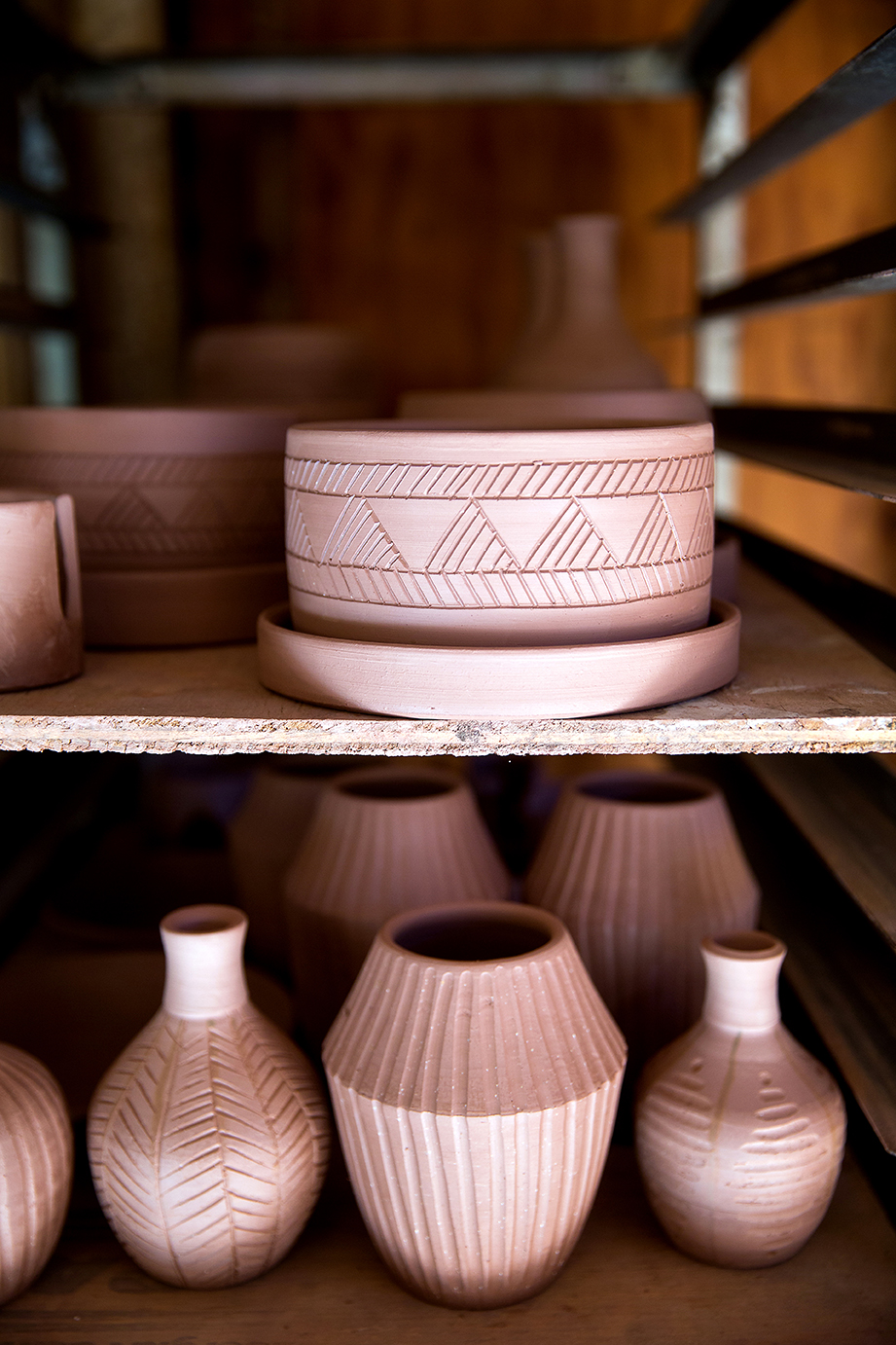 Some of Atoe's pieces waiting to be finished. Photo by Collin Richie.