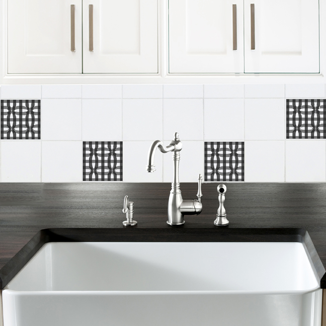 """StickPretty's faux backsplash tile tattoos can be used in both kitchens and bathrooms. Pictured here in """"Gingham Ribbons"""""""