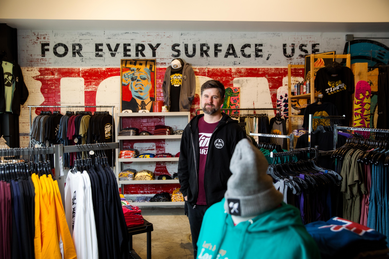 e8d11230c5 Designer Brad Jensen blends community and apparel inside Tim's Garage