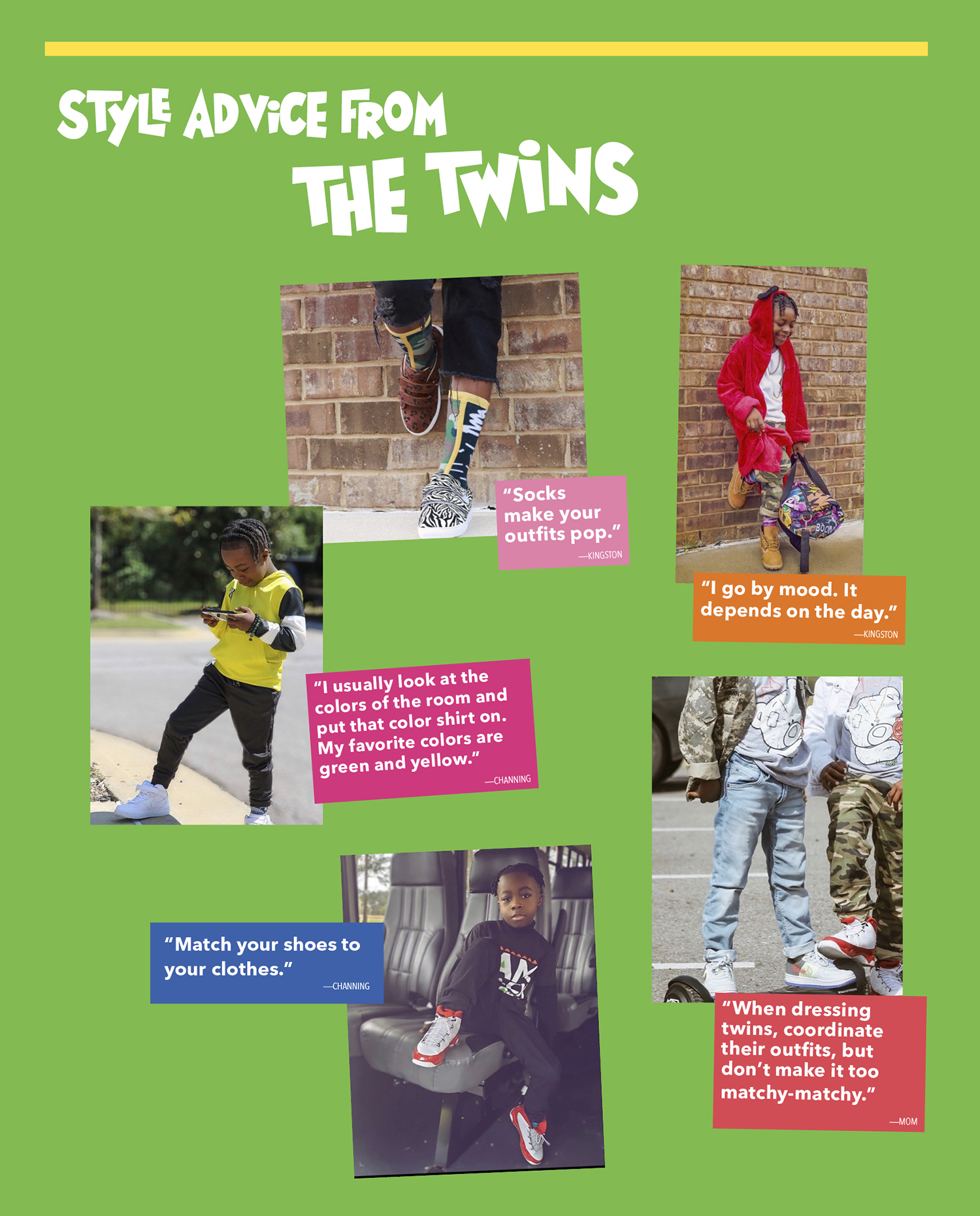 Style advice from the Twins, collage of photos of the twins fashion advice