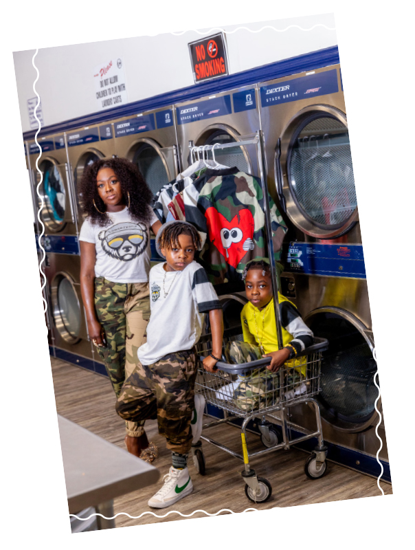 Styled photo of twins Channing and Kingston with Mom, Regina Adams. All in clothing by Two Little Boys