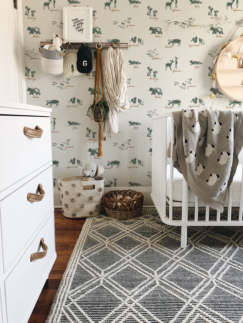 baby nursery featuring forest friends wallpaper by Hope Johnson.