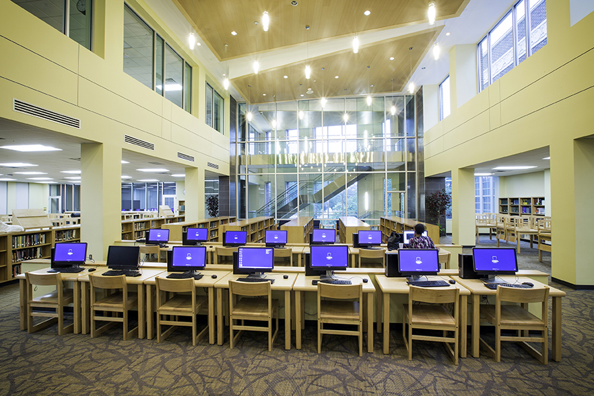 The Schools New Library Is Fully Automated With 48 Networked Computers For Student Use Also Has Laser Printers Scanners Digital Cameras And
