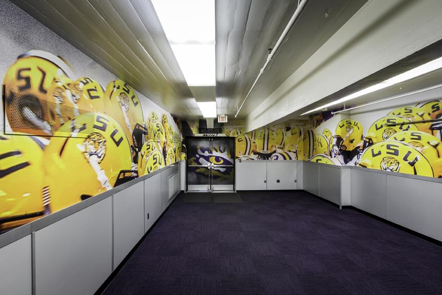 A look inside lsu 39 s tiger stadium locker rooms baton for Room wraps