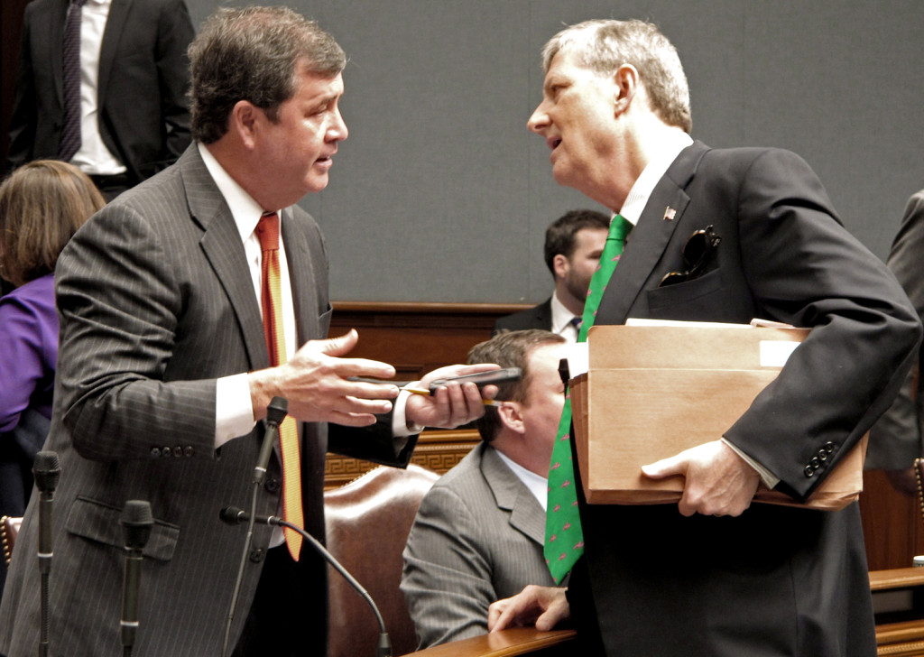 (AP Photo) State Treasurer John Kennedy (right) and Sen. Neil Riser, R-Columbia, both received contributions from the law firm Butler Snow
