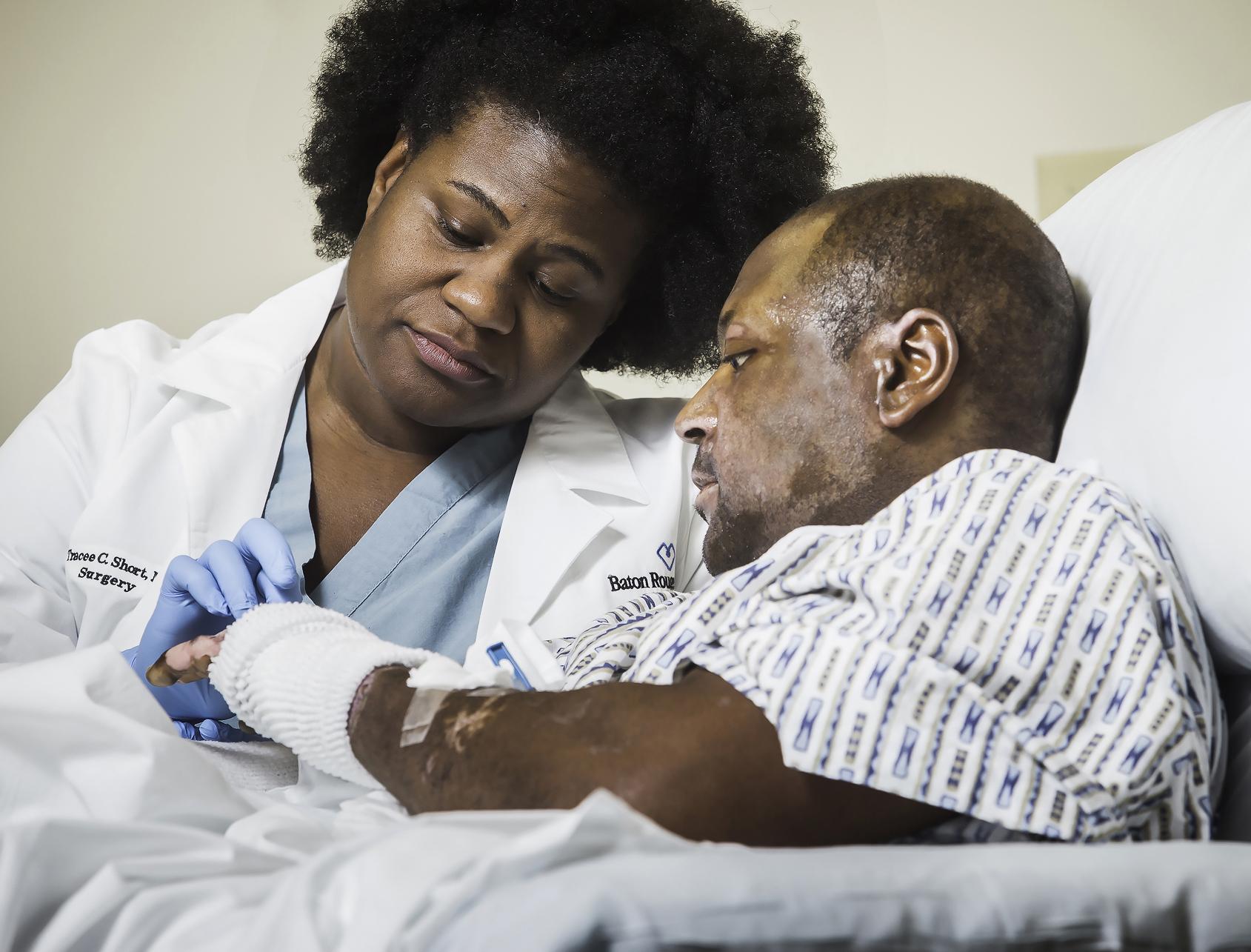 ... Lynel East, Jr. at the Baton Rouge General Medical Center's Burn Unit