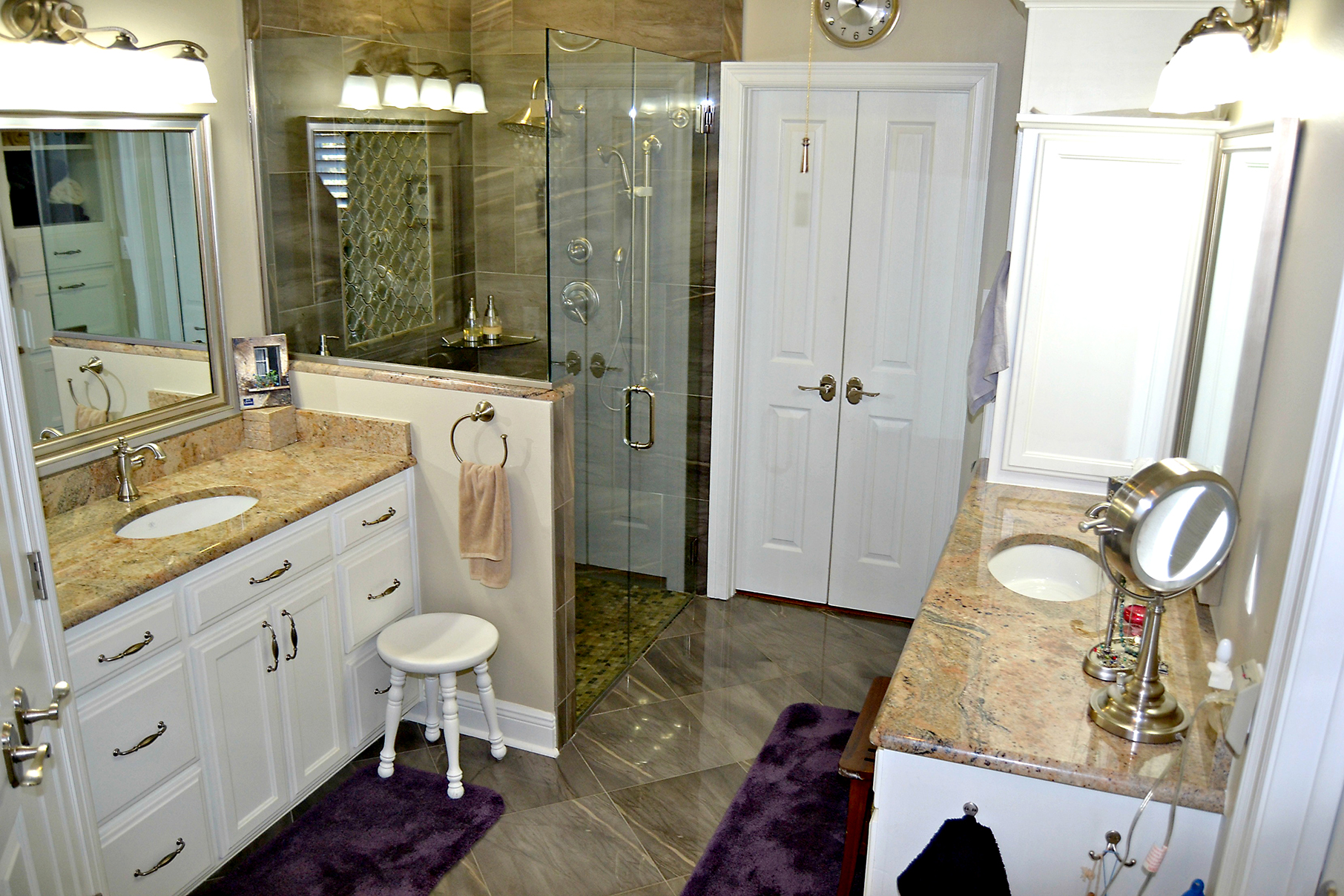 large extended doorways and zero clearance showers with a handlebar are among the features commonly included in aging in place bathroom remodeling projects - Bathroom Place