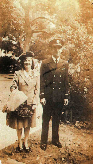 Hawkins and her husband Murray on their honeymoon, one year after their marriage-by-telephone.
