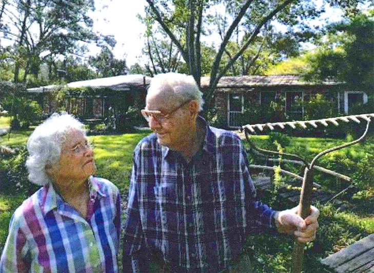 Hawkins and her late husband Murray outside their Baton Rouge home.