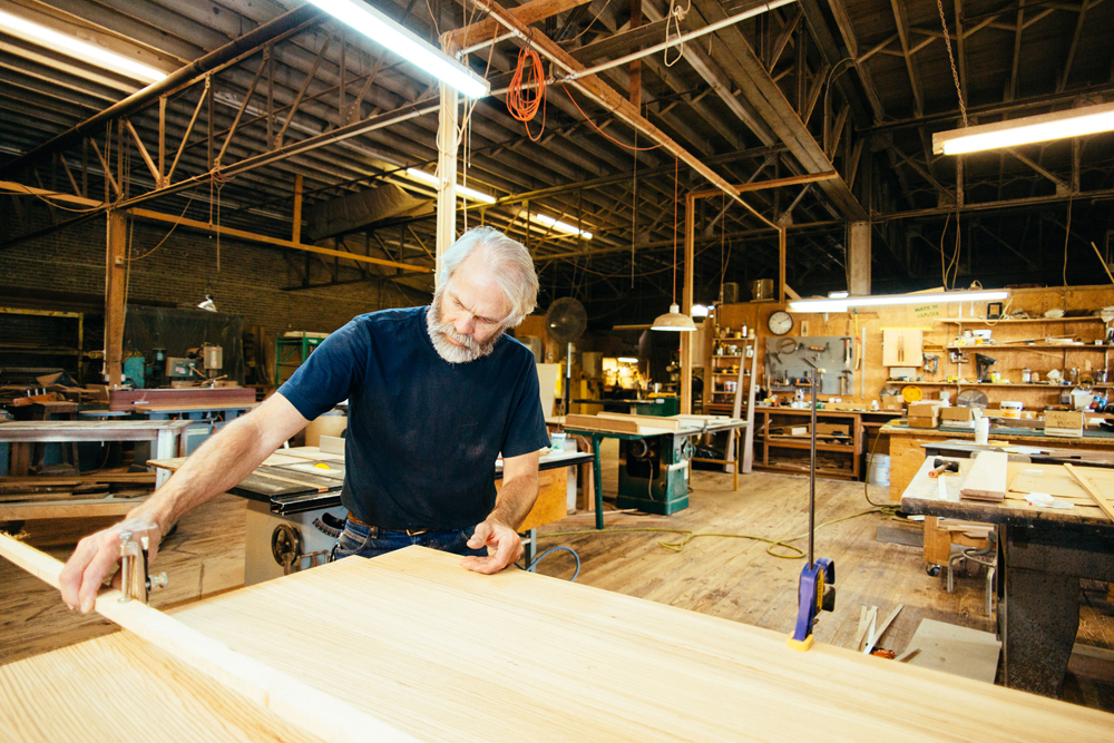 Thomas' passion is creating custom furniture pieces in his Laurel Street workshop.