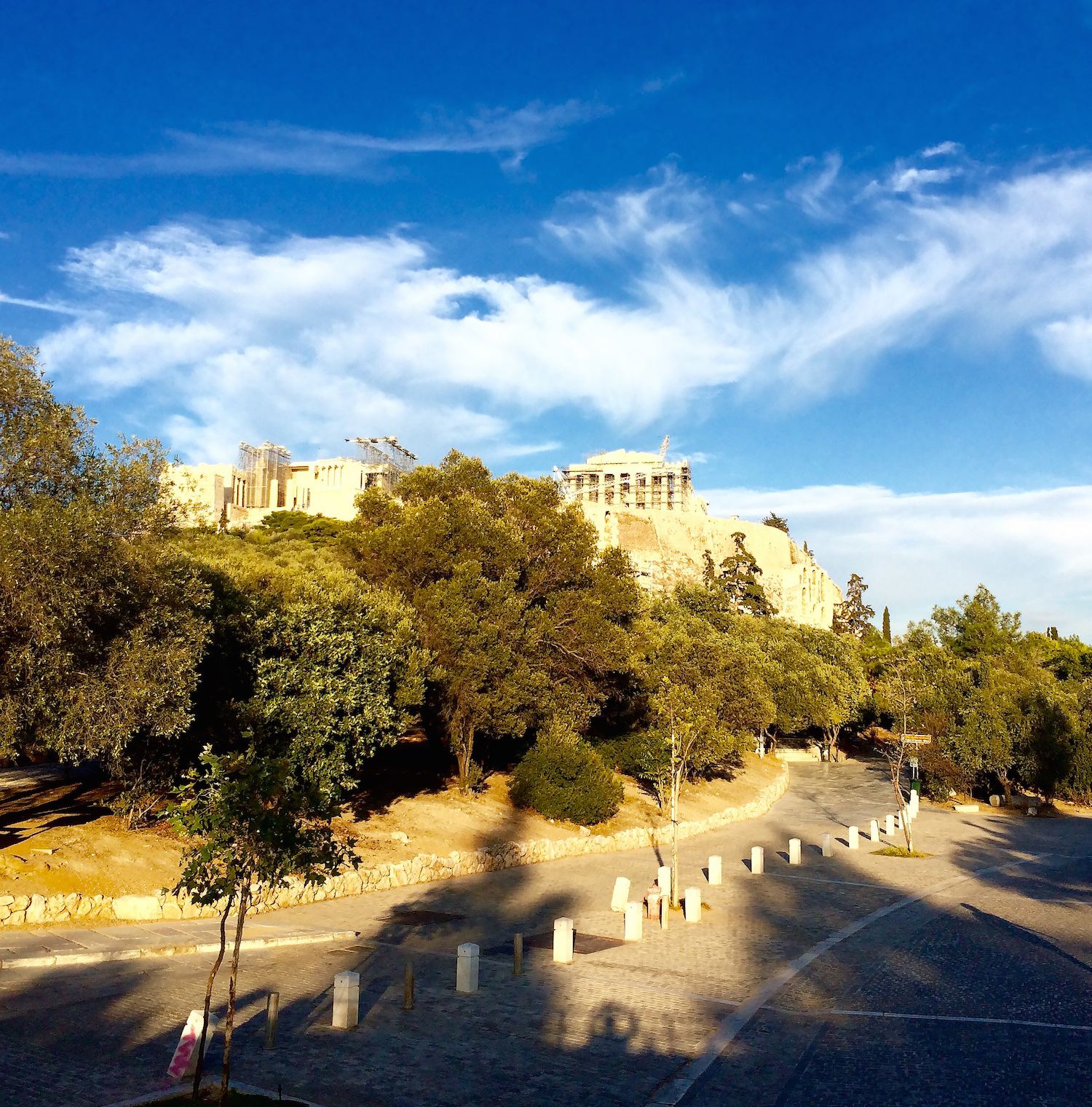 "Checked off of Clements' bucket list was ""taking Acropolis Hill in Athens, Greece."" The Acropolis is an ancient citadel located high above the city and contains the remains of several ancient buildings."
