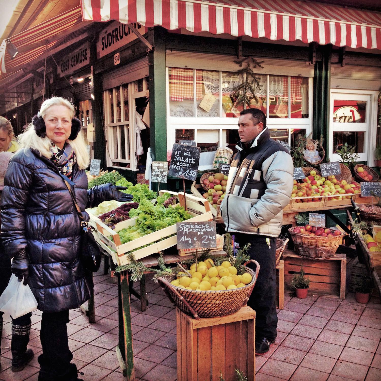 Clements at a street market in Vienna, Austria.