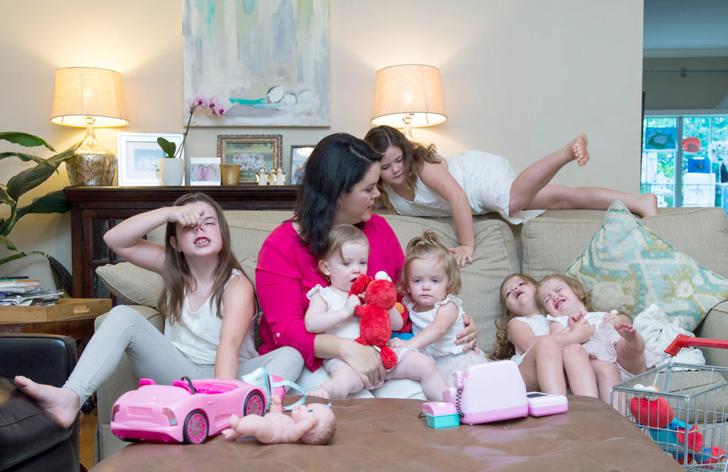 A bit of chaos is par for the course in trying to organize six young girls for anything. Chrissy--a self-described Type A personality before kids--has learned to take it in stride. Photo by Jeannie Frey Rhodes.