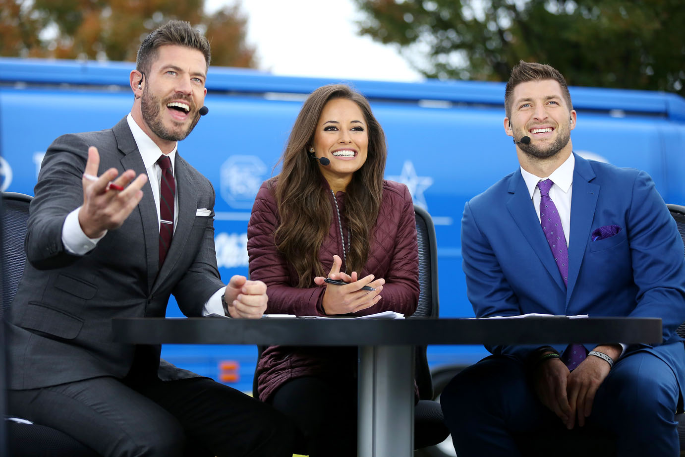 Kaylee Hartung holds her own, sharing the screen with Jesse Palmer and Tim Tebow on SEC Nation. Photo by Chet White / ESPN Images.