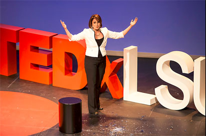 When Ghawi was a child, her grandmother told her that a girl is like a vase—if it cracks, it cannot be fully repaired. So it was a profound moment when, during her TEDxLSU talk in 2014, she let a glass vessel shatter.