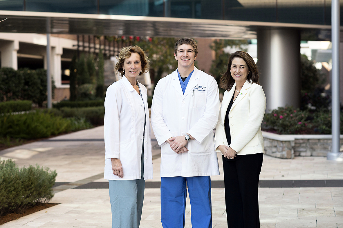 """Everything stops when illness hits,"" says Dr. Brad Culotta, a pediatric orthopaedic surgeon at OLOL. ""But that's where OLOL's Children's Hospital shines."" Culotta is pictured here with pediatric surgeon Dr. Faith Hansbrough and Dr. Shaun Kemmerly, chief medical officer. These three and many others have been dedicated to expanding pediatric services at OLOL and look forward to the new facilities, which will draw even more specialists."