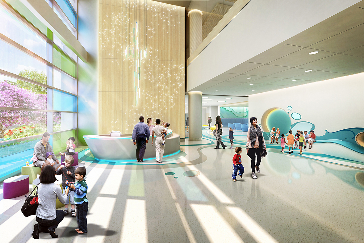 The lobby of the Our Lady of the Lake Children's Hospital will have an inviting and welcoming atmosphere resembling a children's museum.