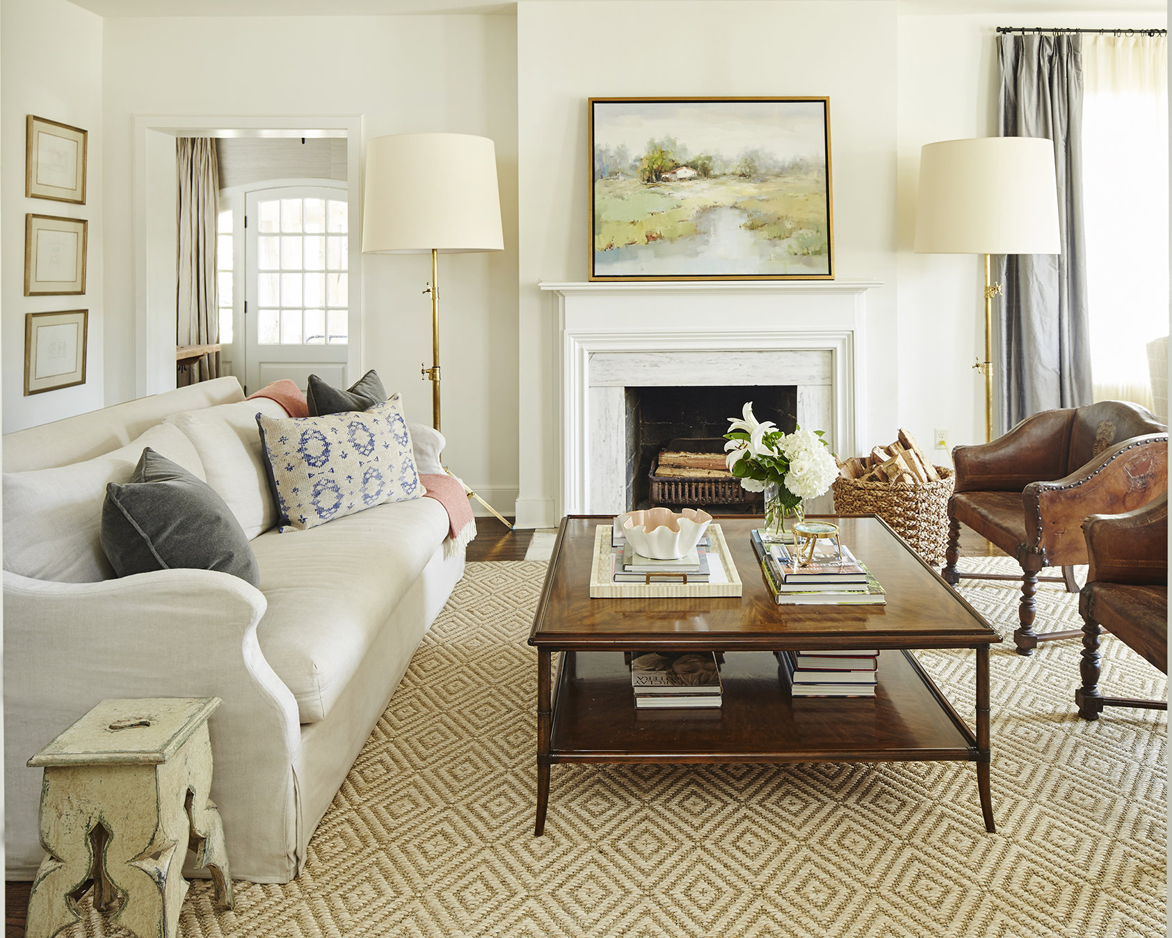 u201cA fireplace says home to meu201d says Gilbreath of the centerpiece of her living room which is a favorite spot for the family to gather. & Southern charm: All eyes are on interior designer Ashley Gilbreathu0027s ...